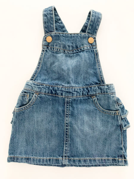 Old Navy denim overall dress with ruffle bottom (3 months)