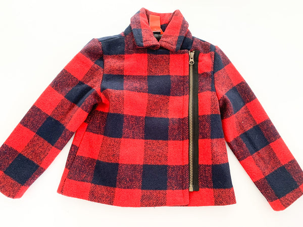Joe Fresh red & navy plaid wool coat size 4Y