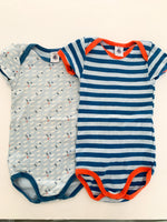 Petit Bateau 2pc blue stripe & rockets short sleeve bodysuits size 24 months