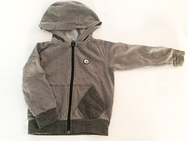 Volcom dark grey zip up cardigan with hoodie size 2T