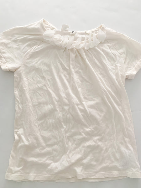 Gap Kids ivory short sleeve shirt with tulle ruffle details size xl (12)