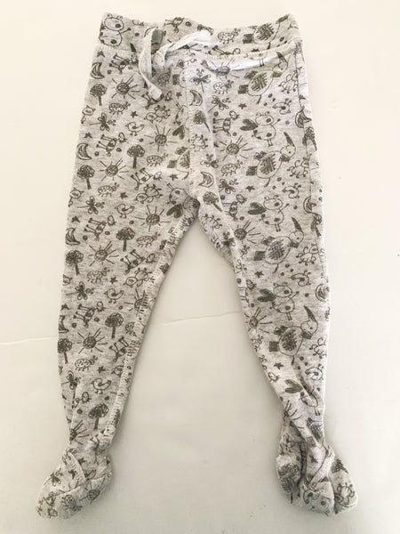 Castro grey with animal scribble print footed leggings size 6-12 months