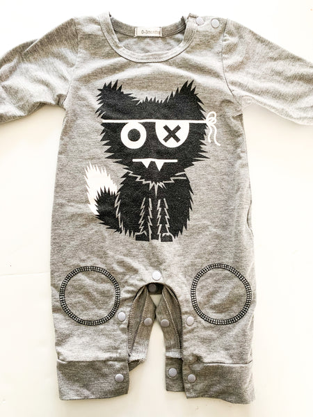 Grey monster romper   (0-3 months)