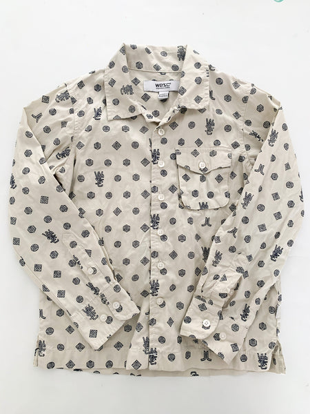 Wesc cream with Wesc logo print dress shirt size 6Y