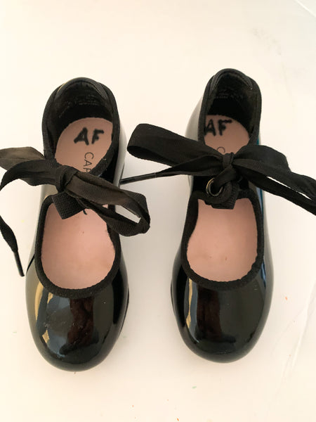 Capezio black patent tap shoes (size 8)