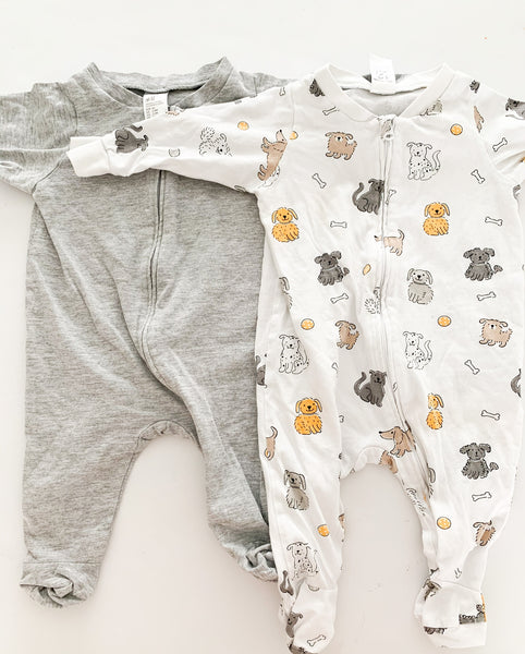 H&M 2 pack light grey & puppy print zipper sleepers size 2-4 months