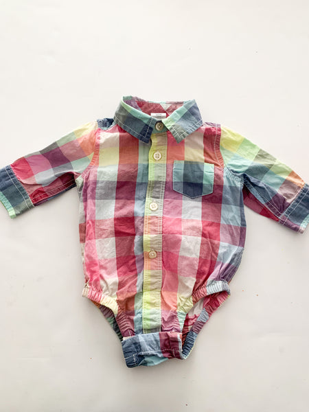 Gap plaid print button down onesie (0-3 months)