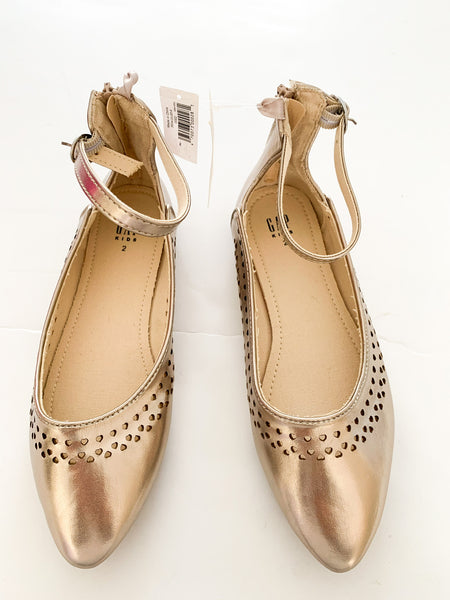 Gap Kids metallic gold ballet flats with ankle straps new with tags size 2US