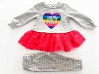 Juicy Couture grey with rainbow heart peplum tulle skirt with leggings set size 12 months