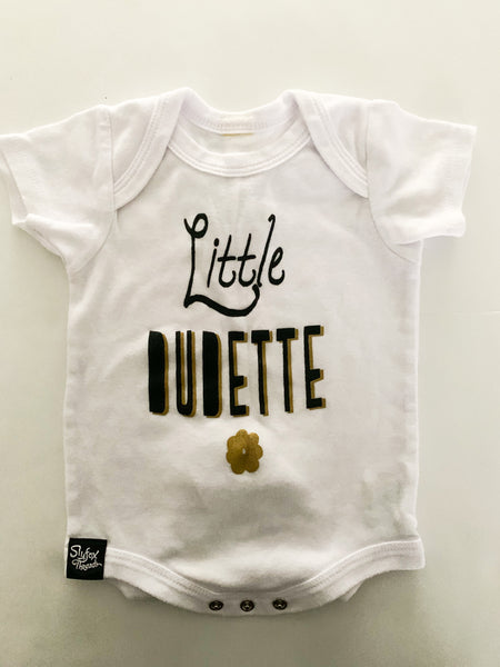 Slyfox threads little dudette onesie   (3-6 months)