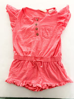 Zara pink romper with eyelet ruffle details size 3-6 months