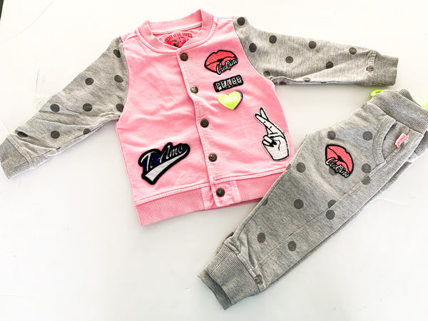 Vingino pink jacket w/polka dot sweats (size 2)