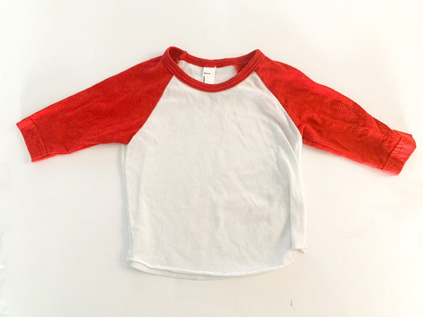 American Apparel red long sleeve baseball shirt size 3-6 months