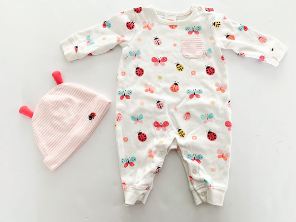 Gymboree 2pc butterfly & ladybug pj with matching toque size 0-3 months