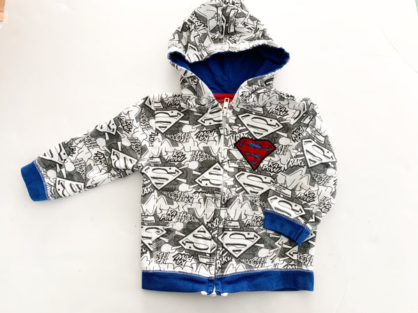 Superman BW zip up hoodie (18 months)