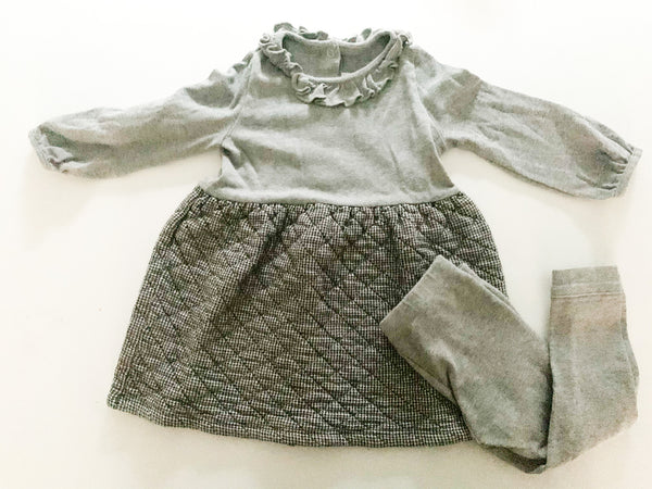 Petit Bateau grey quilted dress with grey leggings set size 18 months