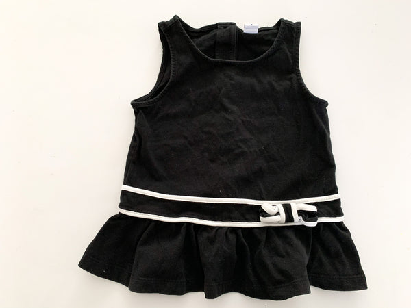 Janie & Jack black & white cotton tank top with bow size: 5Y