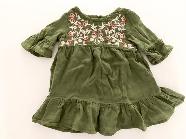 Old Navy army green dress with flowers (0-3 months)