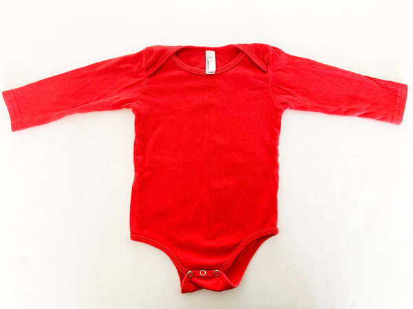 American apparel red LS bodysuit (18-24 months)