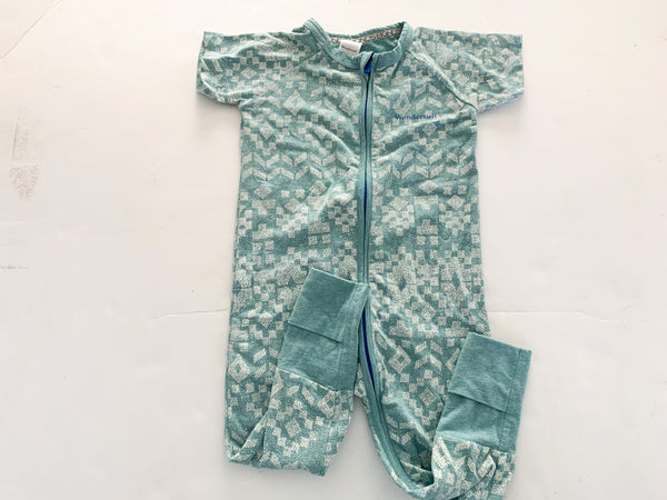 Bonds green geometric print wonder suit (12/18 months)
