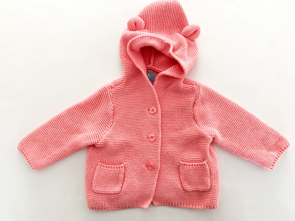 Baby Gap pink teddy knit hooded cardigan sweater size 3-6 months