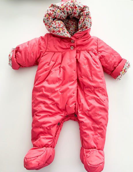 Berlingot pink and floral one piece snowsuit size 3 months