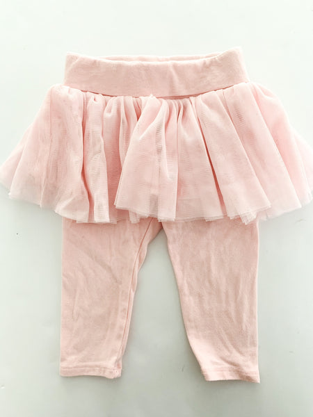 Baby Gap pink leggings with tulle size 6-12 months