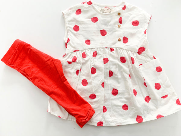 Zara white tunic w/ pink polka dots and tights (12-18 months)