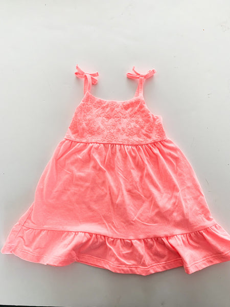 Baby B'gosh neon pink cotton dress size 9-12 months