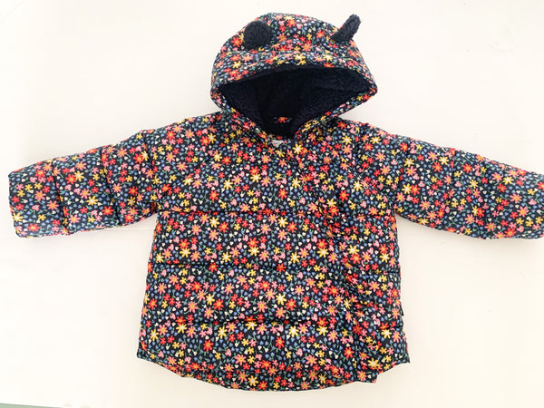 Gap floral Sherpa lined puffer jacket (18-24 months)