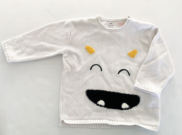 Zara white knit monster pullover (12-18 months)