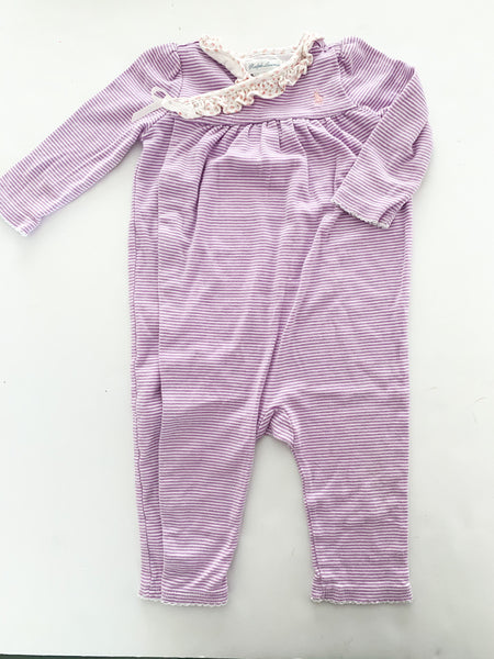 Ralph Lauren purple stripe long sleeve romper with snaps size 9 months