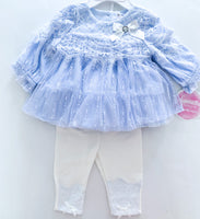 Nannette baby light blue lace shirt with white leggings  (0-3 months)