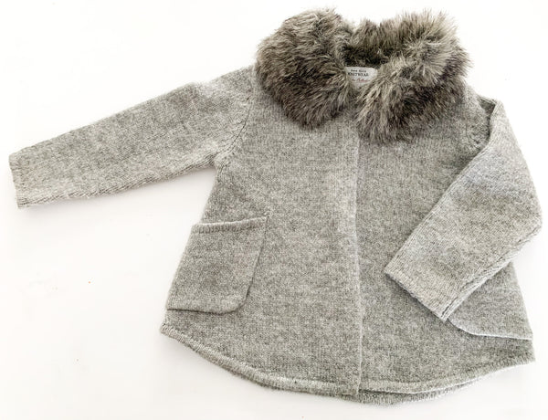 Zara grey knit sweater jacket with removable fur collar size: 5T