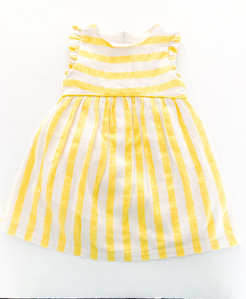Filou & friends yellow stripe ruffle pleat dress (size 2)