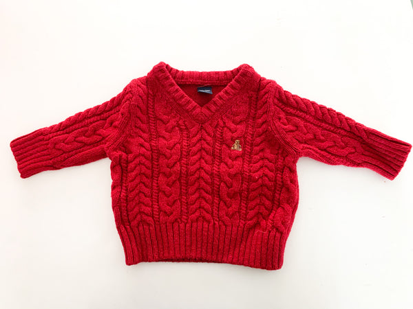 Gap red cable knit v neck sweater (0-3 months)