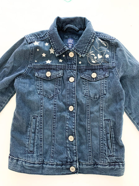 Gap Kids dark denim jacket with metallic thread designs new with tags size M (~8/9Y)
