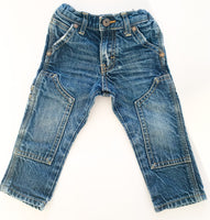 OshKosh B'gosh faded blue cargo style straight cut jeans size 12 months