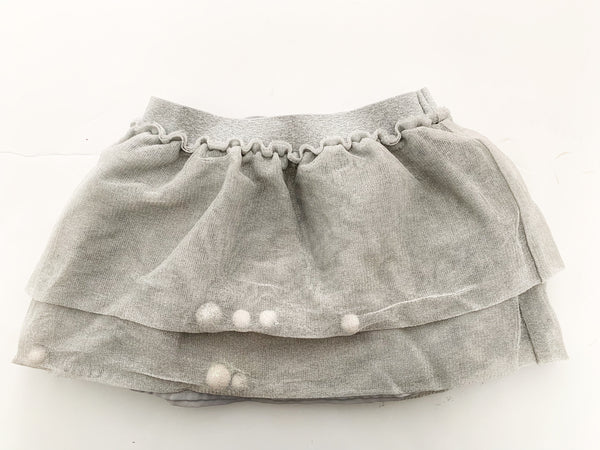 Cat & Jack layered grey tulle skirt w/poms (size 2)