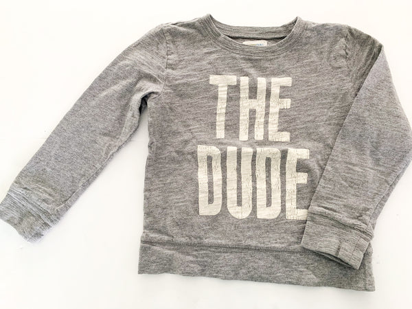 "Crewcuts grey ""the dude"" long sleeve shirt size 4-5Y"