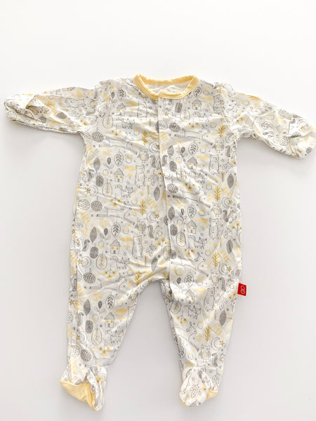 Magnetic Me yellow and grey footie onesie