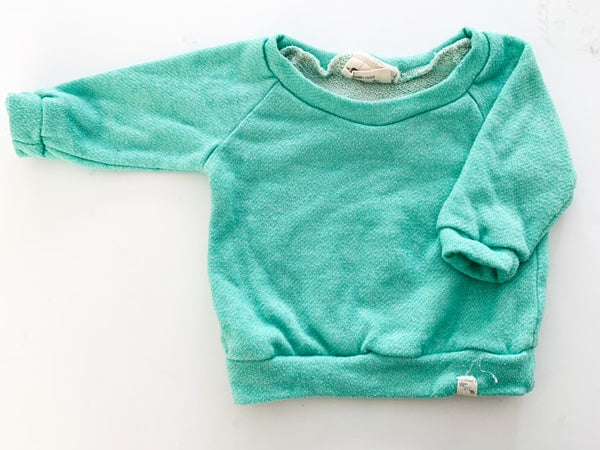 Bear and Roo aqua blue crewneck sweater size 3-6 months