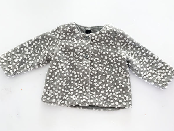 Gap grey coat with white balls (12-18 months)