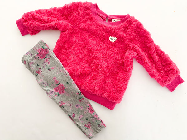 Juicy Couture 2pc fuschia teddy sweater with floral leggings size 12 months