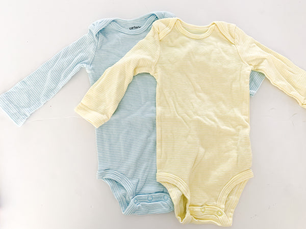 Carters blue stripe and yellow stripe onesie (6 months)