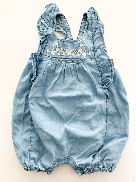 Baby Gap denim romper shorts with ruffles size 6-12 months