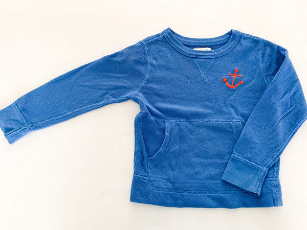 Crewcuts blue crewneck sweater with anchor print and front pocket size 3Y