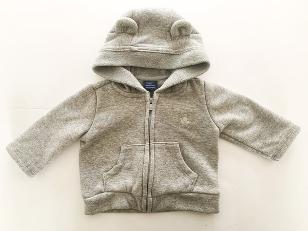Gap grey zip up hoodie w/grey fleece lining (0-3 months)