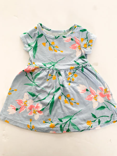 Old navy light blue floral  dress    (3-6 months)
