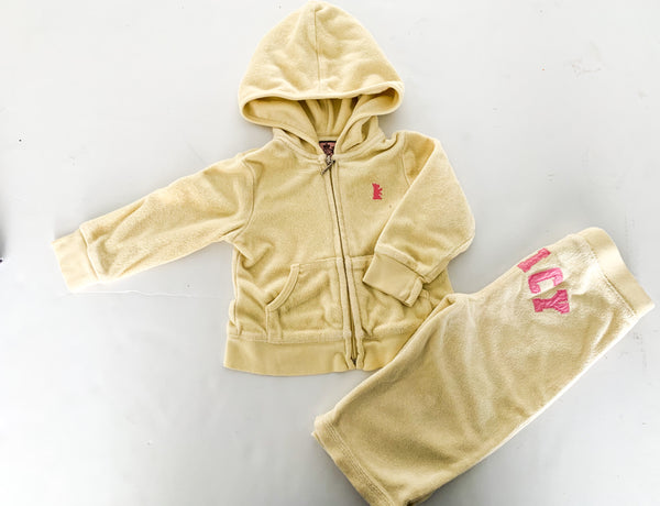 Juicy couture yellow terry hood and pants (12 months)
